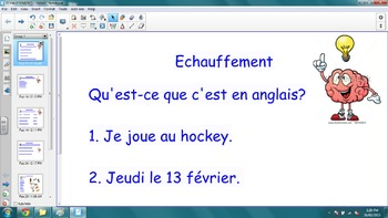 Echauffements - Bell Work for Core French