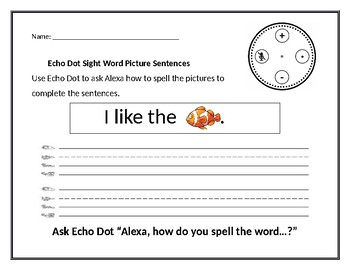 Echo Dot Sight Word Picture Sentences