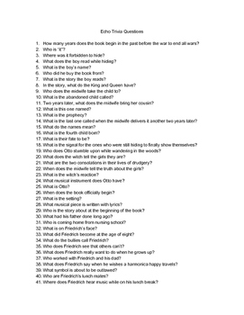 Echo Trivia Questions