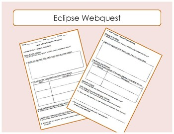 Eclipse Webquest / Interactive Website Worksheet