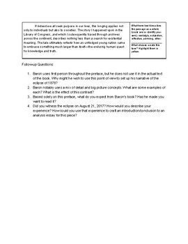Eclipse-themed AP English Language Analysis Prompt/Handout