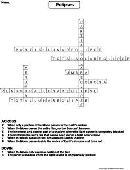 Solar and Lunar Eclipses Worksheet/ Crossword Puzzle (Space Science/ Astronomy)
