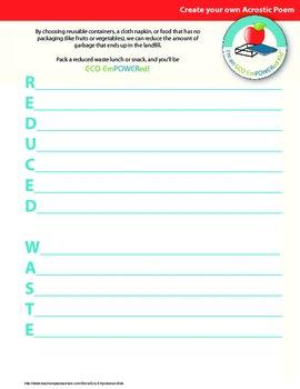 Eco Action Acrostic Poem Templates
