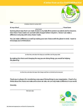 Eco Action Letter Writing Templates