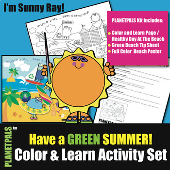 Summer Eco Friendly Beach Safety Activity Set Color & Learn w Planetpals