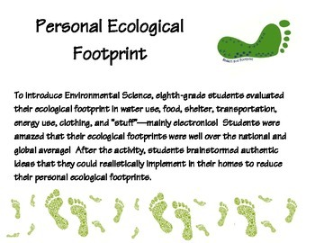 ecological footprint student activity with questionnaire tpt. Black Bedroom Furniture Sets. Home Design Ideas