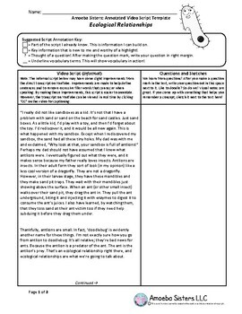 Ecological Relationships Annotated Video Script TEMPLATE - Amoeba Sisters
