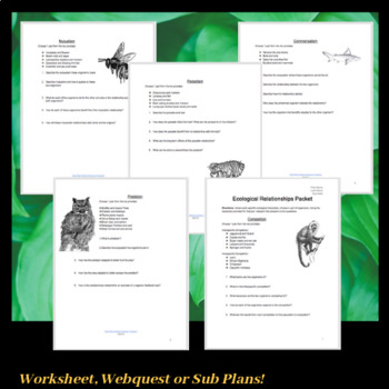 Ecological Relationships Packet with Online Resources