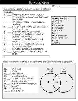 Ecological Relationships and Environmental Changes Quiz