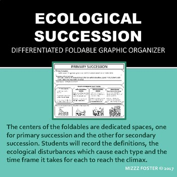 Ecological Succession Differentiated Graphic Organizer Foldable for INB