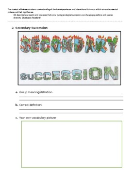Ecological Succession Vocabulary Picture / Word Wall