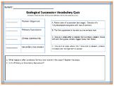 Ecological Succession vocabulary Quiz
