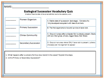 Ecological Succession vocabulary Quiz