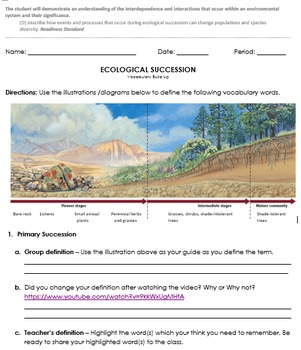 Ecological Succession - vocabulary build up (11D)