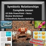 Symbiotic (ecological) Relationships Lesson - PowerPoint, Notes, Worksheet, Game
