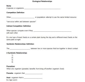 relationships worksheet
