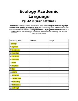 Ecology Academic Language Notebook Assignment