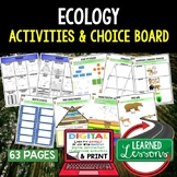 Ecology Activities Choice Board, Digital Distance Learning /Print
