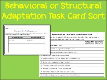 Ecology Behavioral or Structural Adaptations Sort 52 Task Card Station Activity