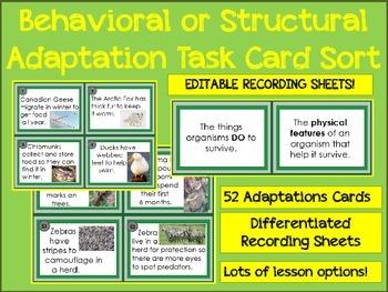 Ecology Behavioral or Structural Adaptations Sort 52 Task
