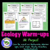 Ecology Bell Ringers, Warm-ups, or Exit Slips {NO PREP}