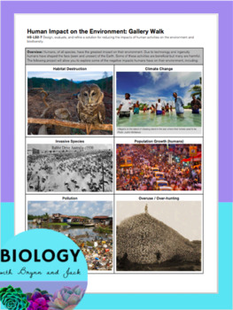 Ecology & Biodiversity Unit Notes & Human Impact on the Environment Gallery Walk