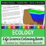 Ecology and Ecosystems Coloring Book & Reading Passages | Printable & Digital