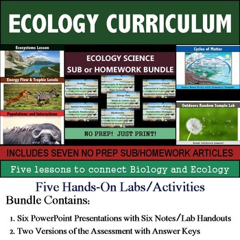 Ecology Curriculum - Five Lessons & Seven Literacy Articles for Sub or Homework