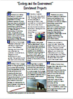 Ecology Projects and Ecology and Environmetn Vocabulary Handouts!