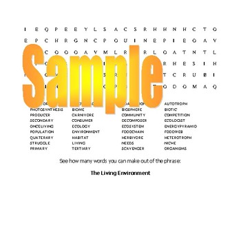 Ecology, Ecosystem, Earth Day Wordsearch with 36 hidden terms