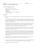 Ecology Ecosystems Lynx Eats Hare Population Laboratory Lesson Plan