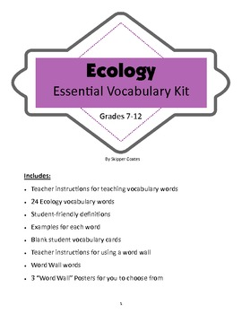 Ecology--Essential Vocabulary Kit