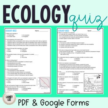 Ecology Formative Quiz - FREEBIE!