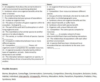 Food Web, Ecology Crossword... by Science from Murf LLC | Teachers ...