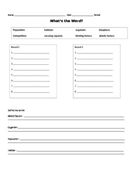 Ecology Introduction - 4 Pics and 1 Word Student Hand-out