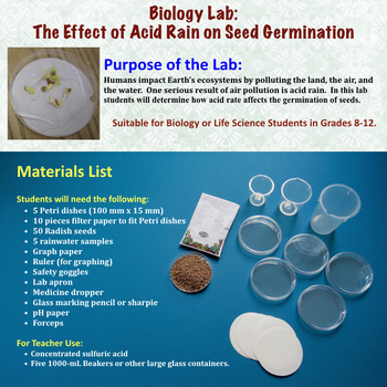 Ecology Lab:  Effect of Acid Rain on Seed Germination