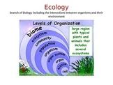 Ecology:  Levels of Organization