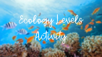 Ecology Levels of Organization Activity