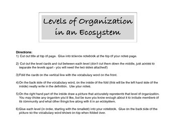 Ecology - Levels of Organization Interactive Notebook Activty