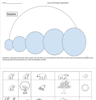 Ecology Levels of Organization -- PowerPoint, Notes, Cut and Paste Activity, W/s