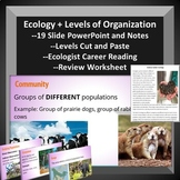 Ecology Levels of Organization -- PowerPoint, Notes, and W/s