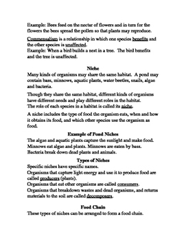 Ecology Notes Word Document