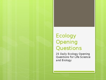 Ecology Opening Questions