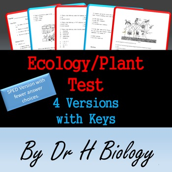 Biology Unit Test: Ecology and Plants - 4 Versions!