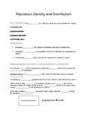 Ecology - Population density and distribution notes