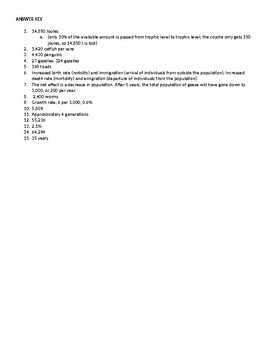 Environmental Science - Ecology Calculation Word Problems