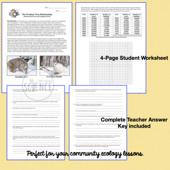 Ecology: Predator Prey Relationship Informational Text and Graphing