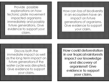 Ecology Question Task Cards