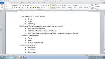 Ecology Quiz!