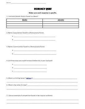 Ecology Quiz